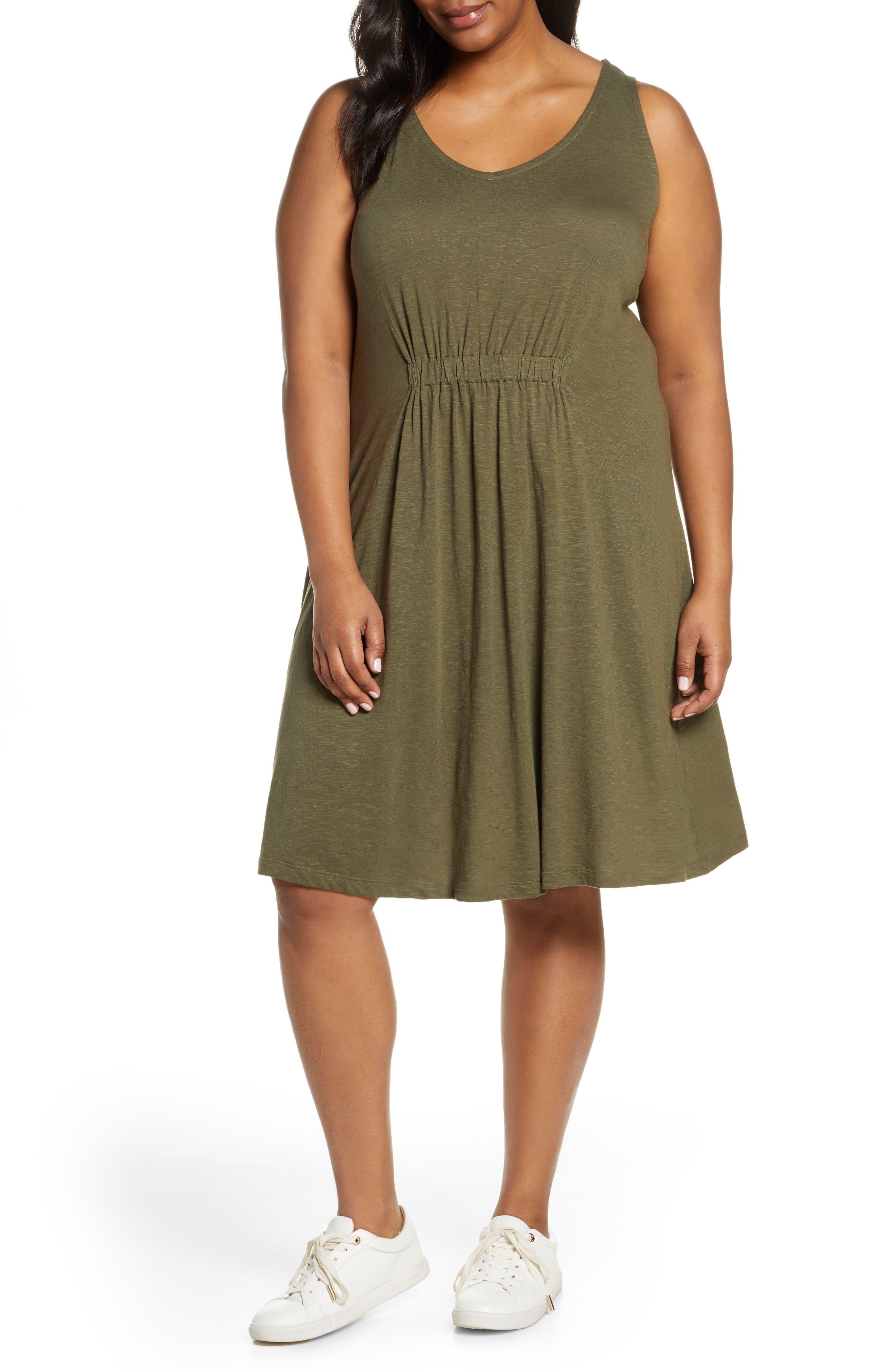 Plus Size Caslon Sleeveless V-Neck Knit Dress, Green