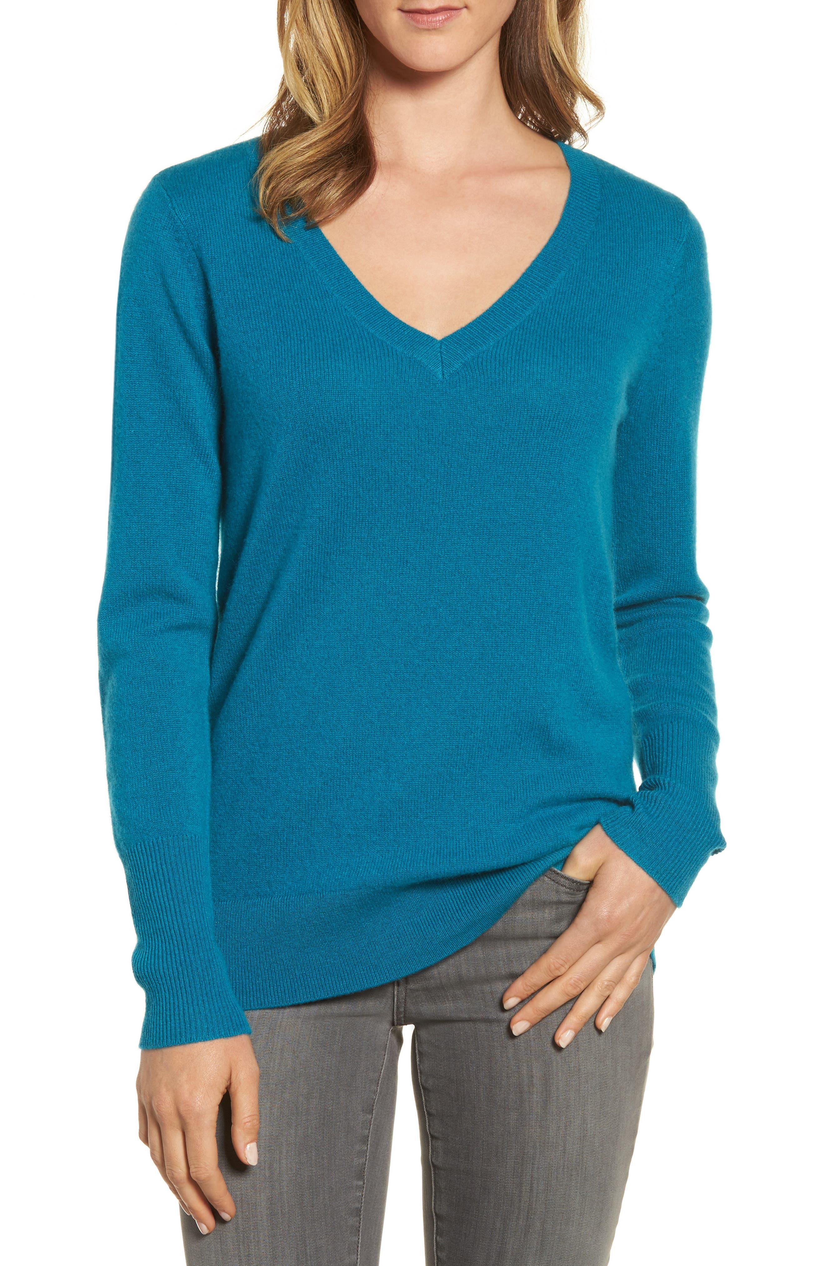 ,                             V-Neck Cashmere Sweater,                             Main thumbnail 41, color,                             449