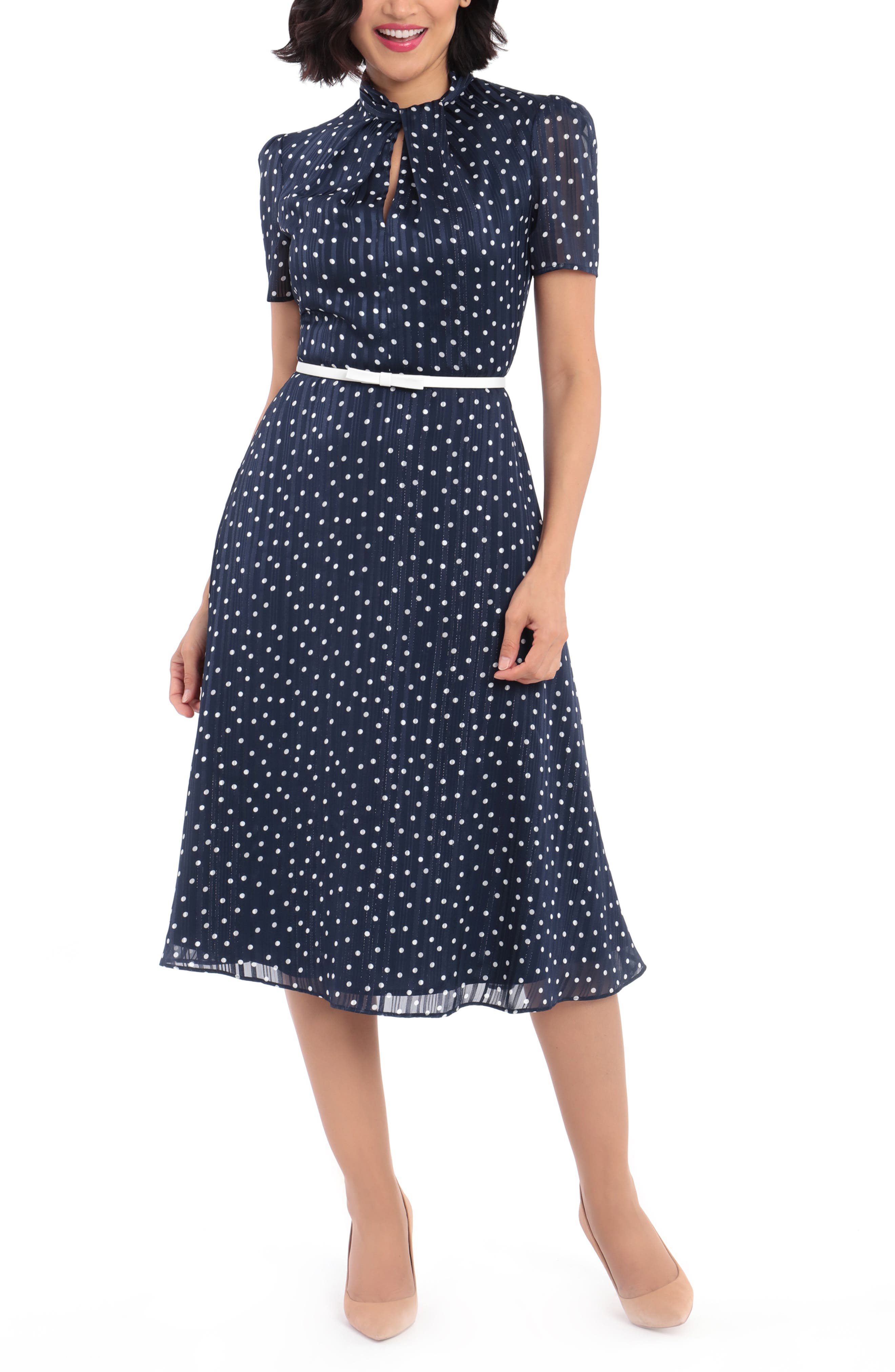 1940s Fashion Advice for Tall Women Womens Maggy London Metallic Dot Midi Dress Size 6 - Blue $158.00 AT vintagedancer.com