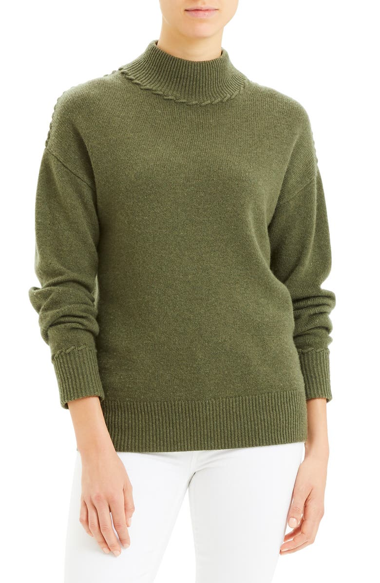 THEORY Whipstitch Mock Neck Cashmere Sweater, Main, color, CARGO