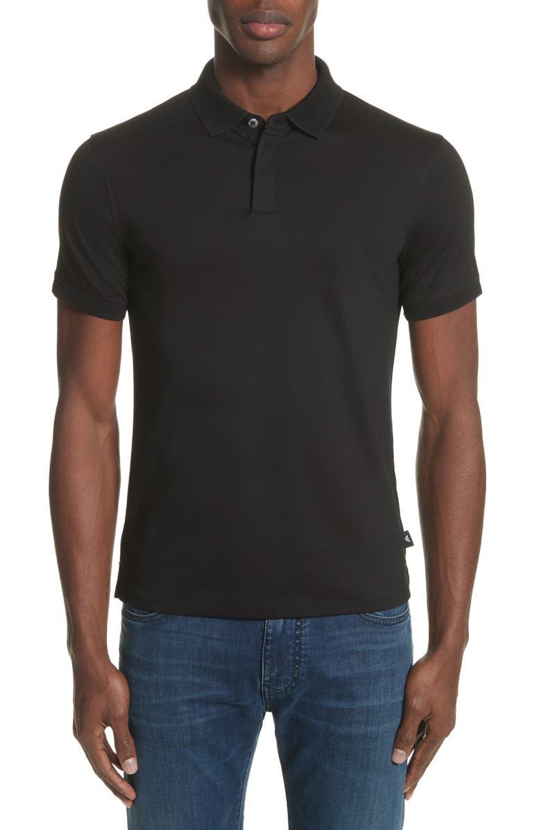 EMPORIO ARMANI Slim Fit Polo, Main, color, SOLID BLACK