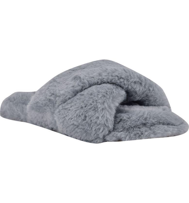 NINE WEST Cozy Faux Fur Slipper, Main, color, LIGHT BLUE