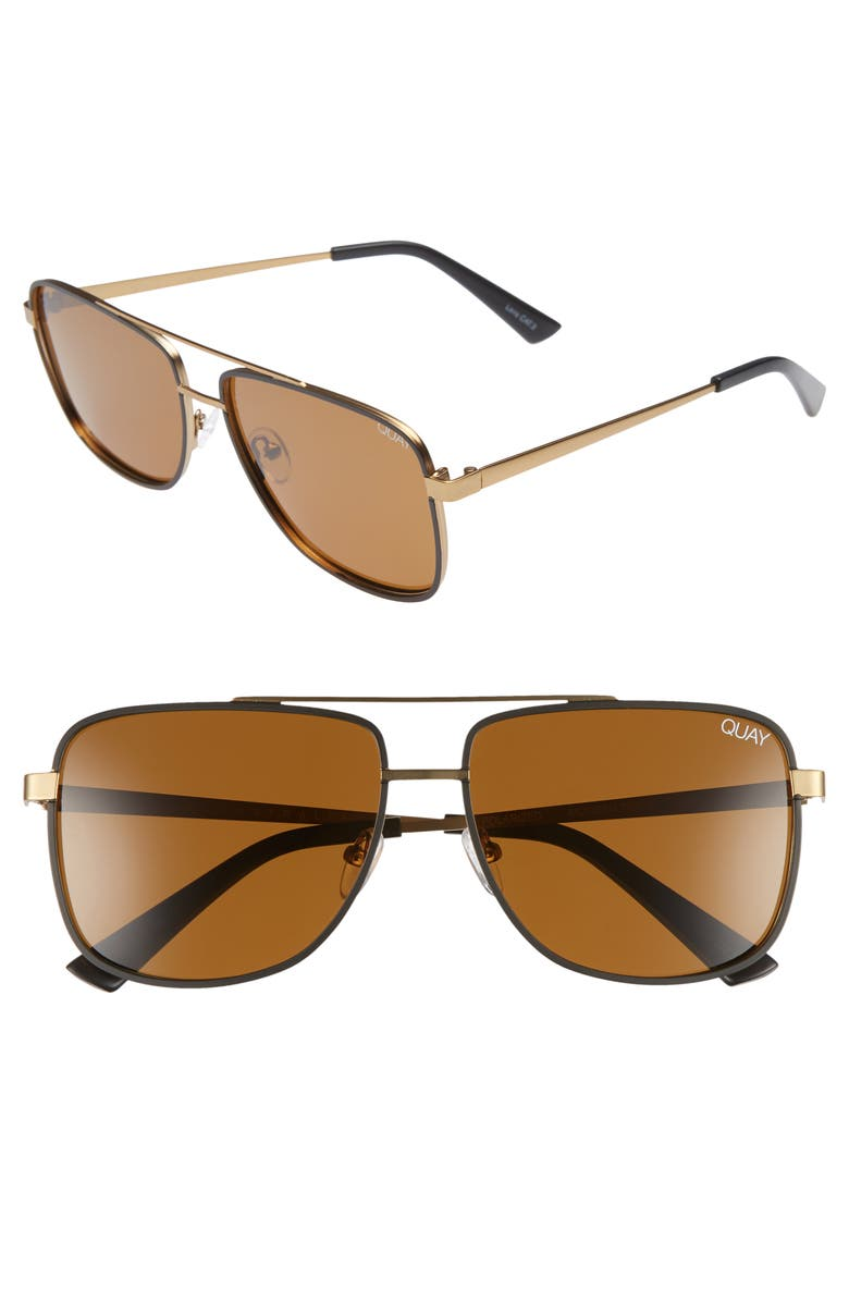 QUAY AUSTRALIA Modern Times 57mm Polarized Aviator Sunglasses, Main, color, BRONZE BLACK / BROWN LENS