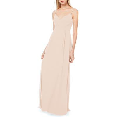 #levkoff Pleated Bodice Chiffon Gown, Pink