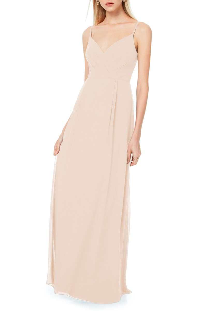 #LEVKOFF Surplice Neck Chiffon A-Line Gown, Main, color, PINK