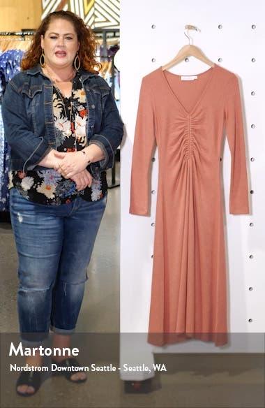 Cinch Front Long Sleeve Midi Sweater Dress, sales video thumbnail