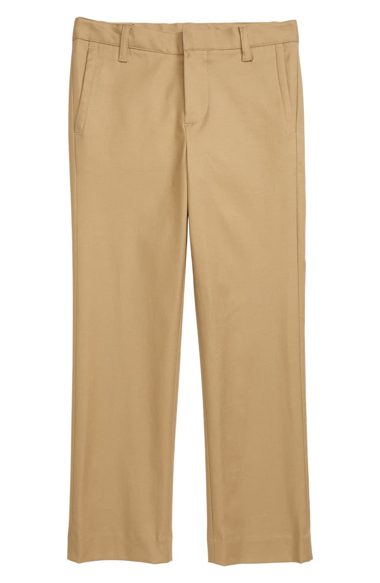 NORDSTROM Flat Front Dress Pants, Main, color, TAN STOCK
