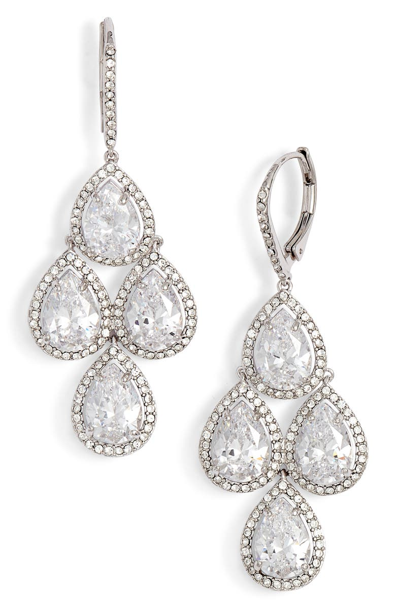 NORDSTROM Crystal Chandelier Earrings, Main, color, CLEAR- SILVER
