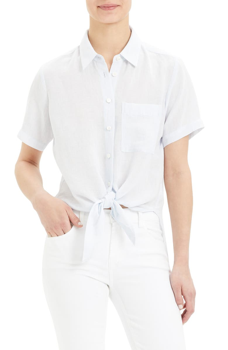 THEORY Hekanina Tie Front Short Sleeve Button-Up Shirt, Main, color, 481