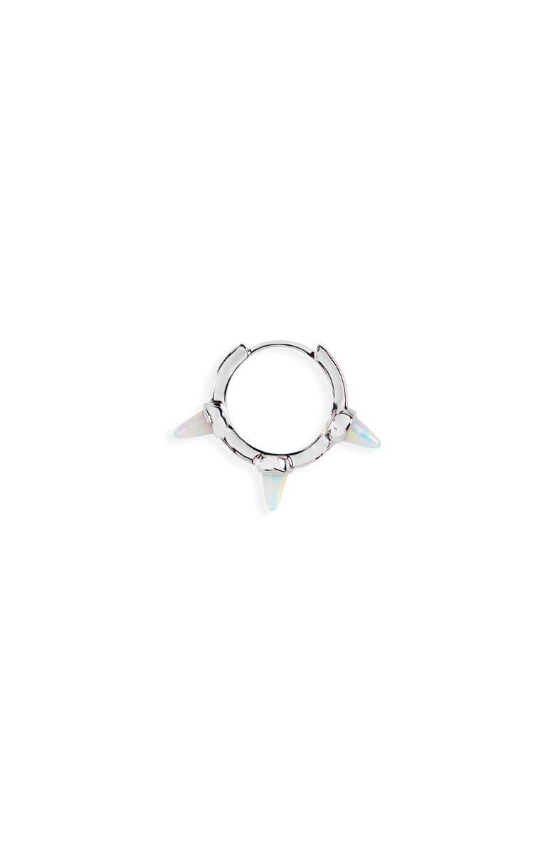 MARIA TASH Short White Imitation Opal Spike Clicker Earring, Main, color, WHITE GOLD