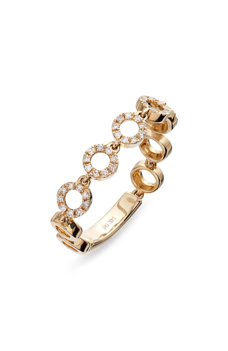 EF COLLECTION Diamond Open Circle Ring, Main, color, YELLOW GOLD/ DIAMOND