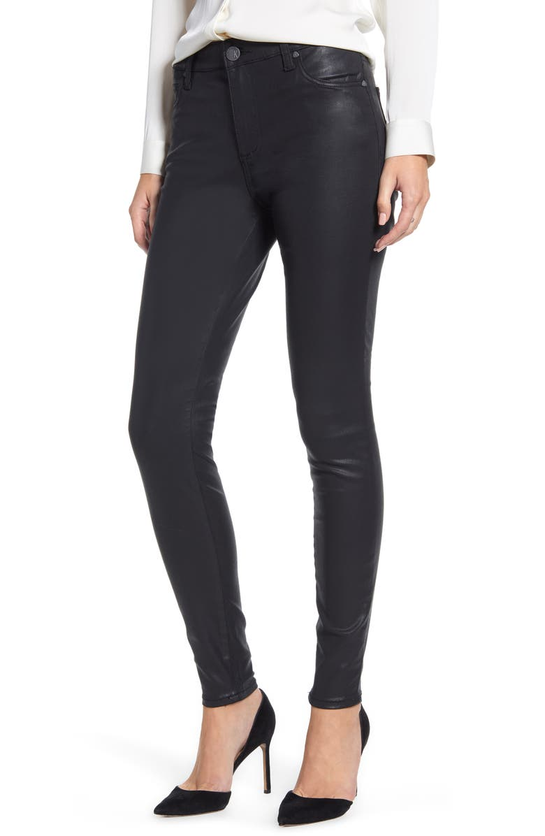 KUT FROM THE KLOTH Donna Coated High Waist Skinny Pants, Main, color, BLACK