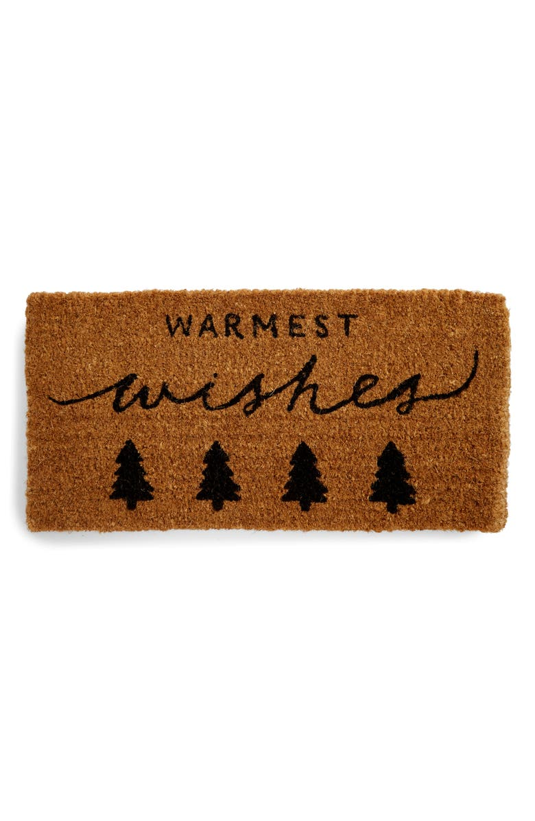 CREATIVE CO-OP Warmest Wishes Doormat, Main, color, NATURAL