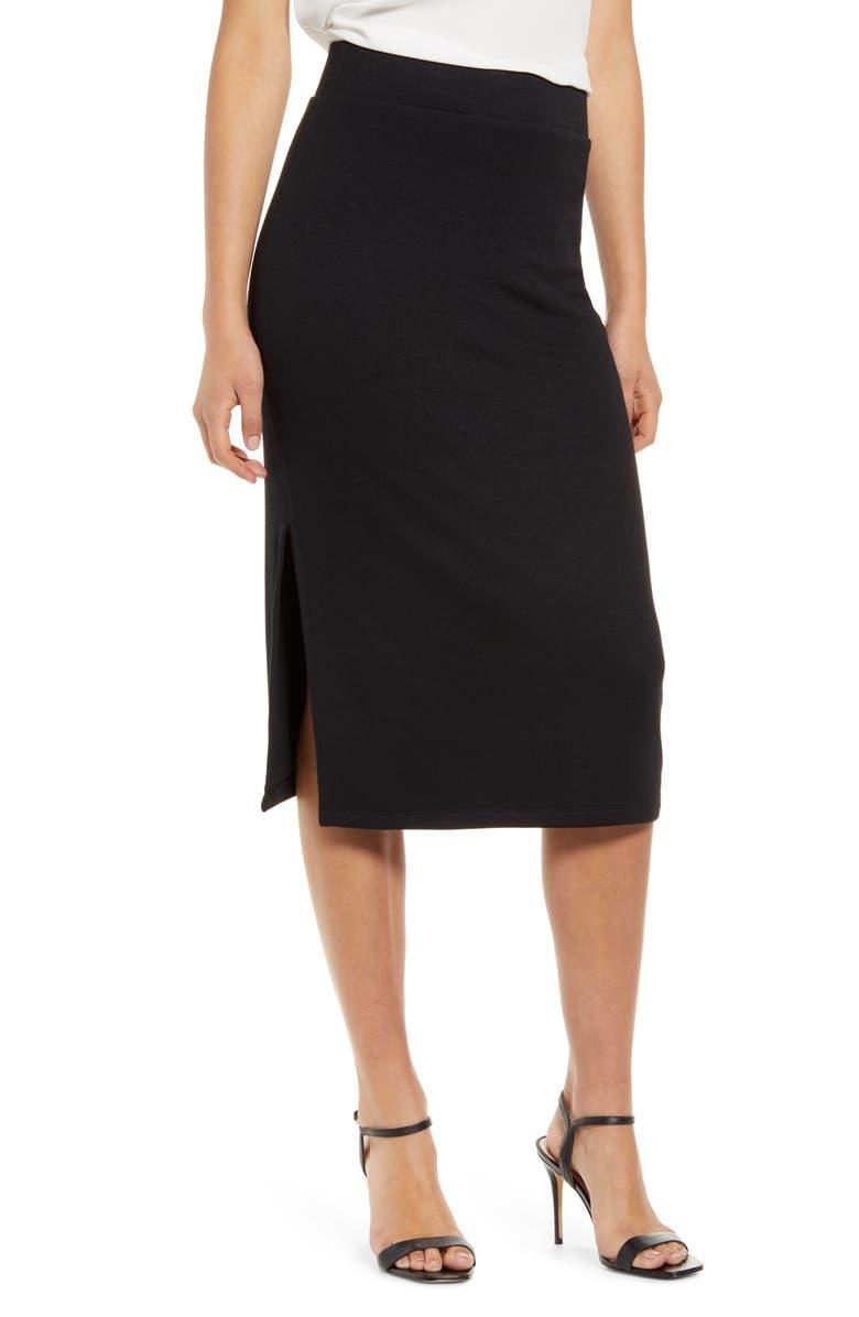 CHELSEA28 Knit Pencil Skirt, Main, color, BLACK