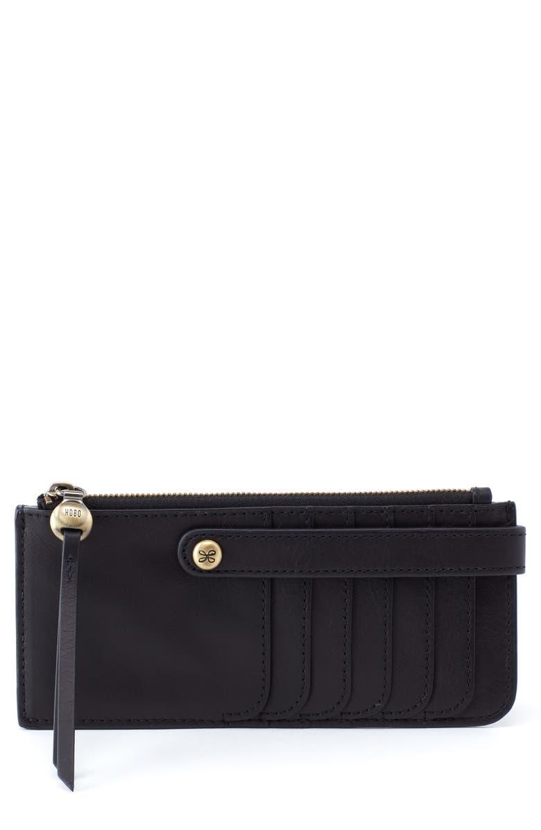 HOBO Range Leather Card Holder, Main, color, BLACK