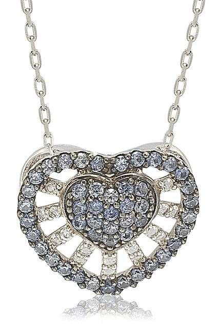 Image of Suzy Levian Sterling Silver Pave Mixed Sapphire & Brown Diamond Accent Heart Pendant Necklace