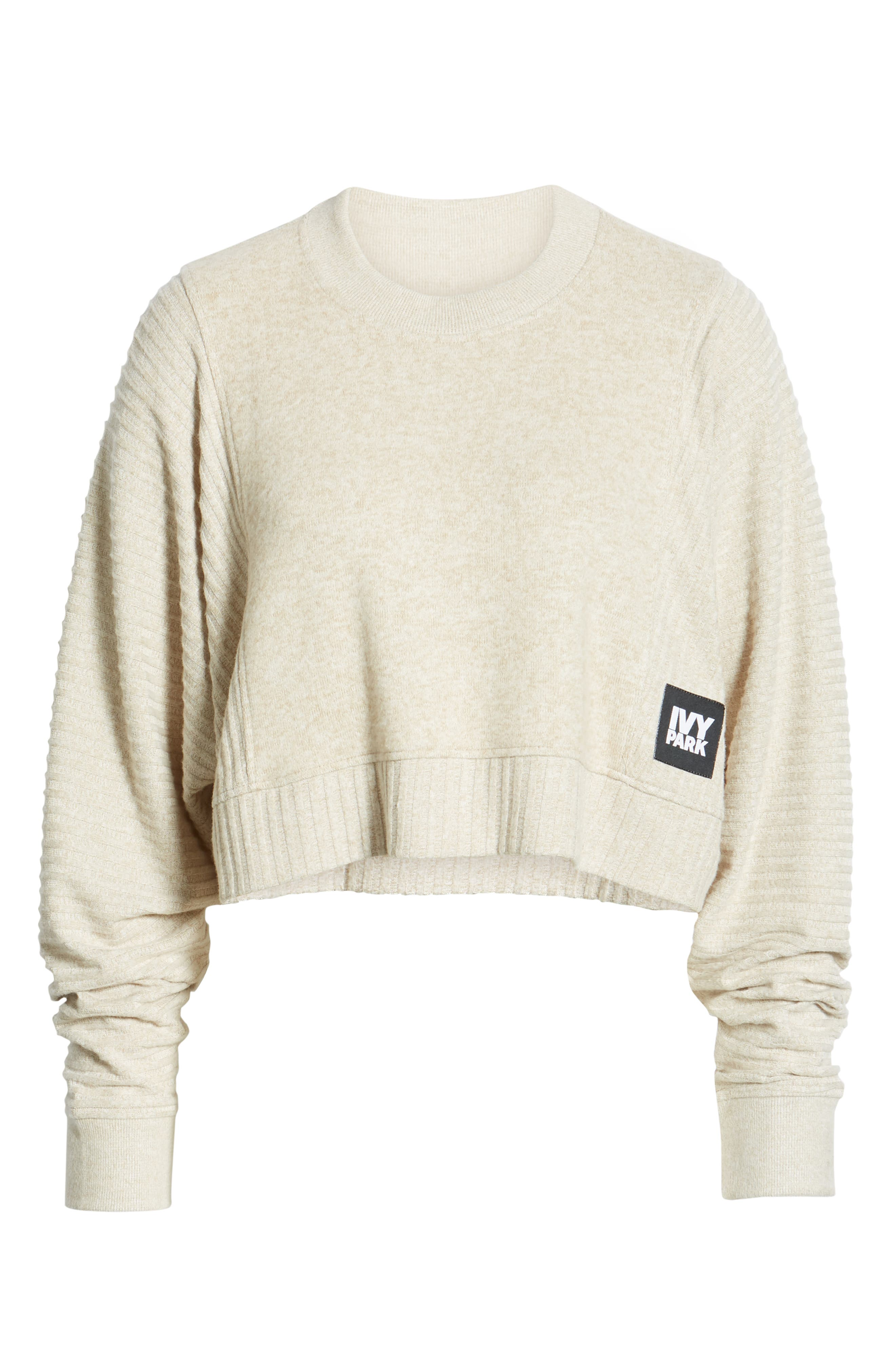 ,                             Contrast Rib Crop Lounge Sweatshirt,                             Alternate thumbnail 7, color,                             BRAZILIAN SAND
