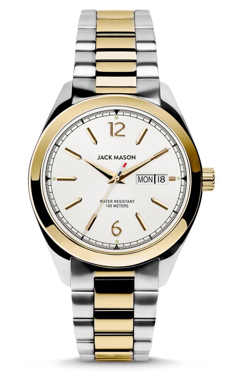 JACK MASON Canton Bracelet Watch, 40mm, Main, color, WHITE