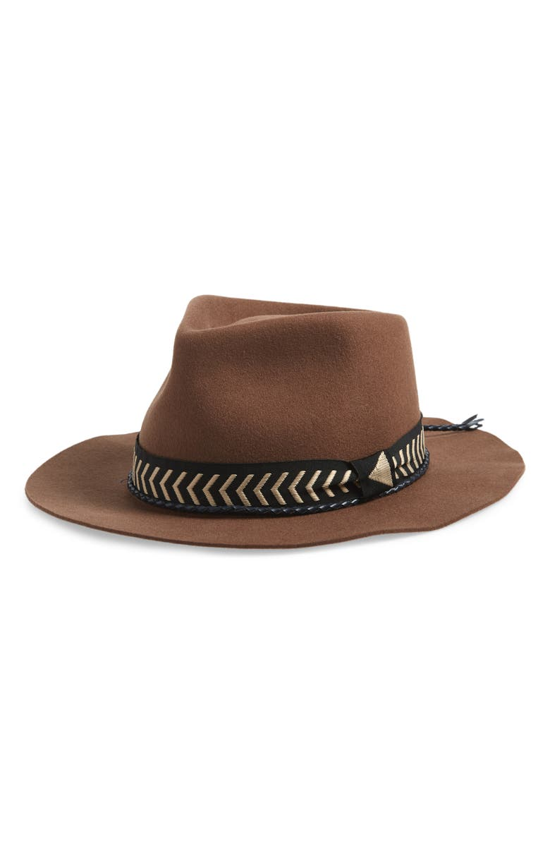 BRIXTON Venice Felted Wool Fedora, Main, color, BISON