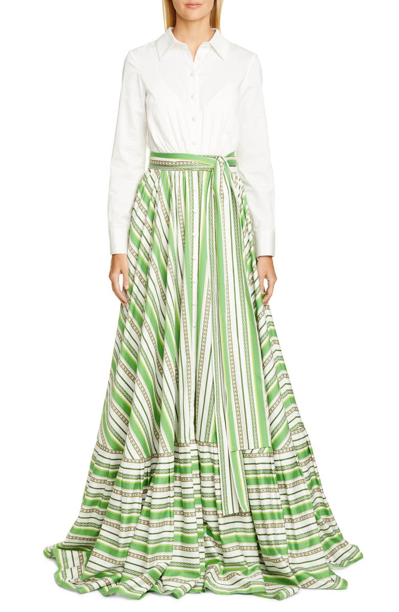 BADGLEY MISCHKA COLLECTION Stripe Long Sleeve Shirtdress Gown, Main, color, WHITE MULTI