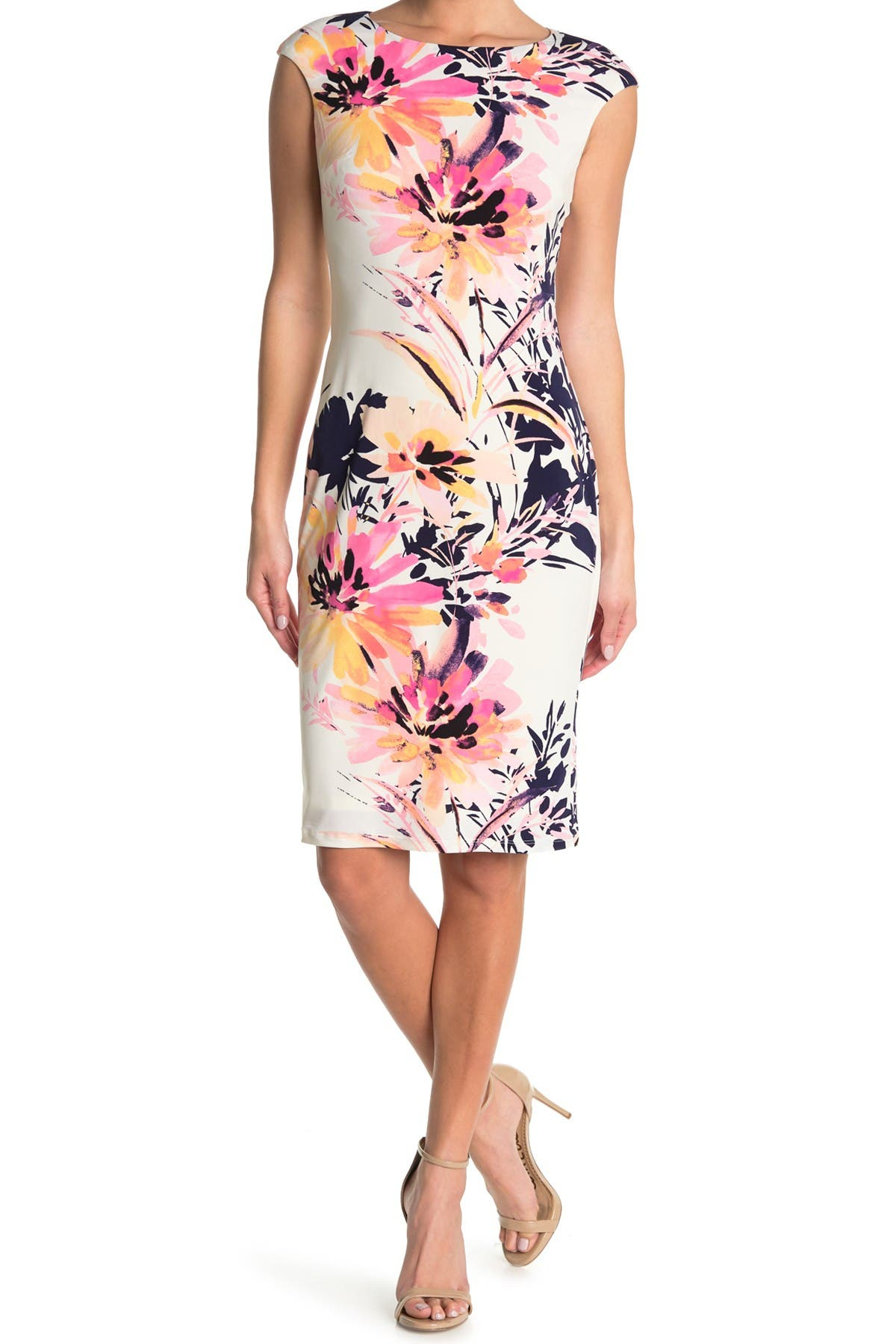 Image of London Times Cap Sleeve Floral Print Sheath Dress