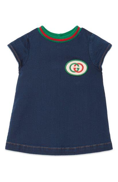 Gucci Babies' Short-sleeve Denim Dress W/ Interlocking G Patch In Blue