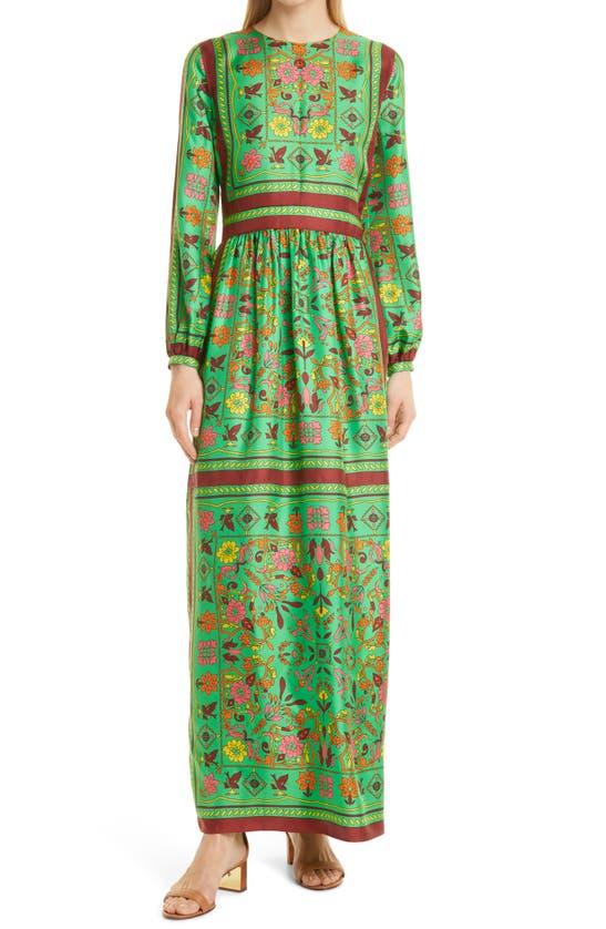 Tory Burch Silks SCARF PRINT LONG SLEEVE SILK MAXI DRESS