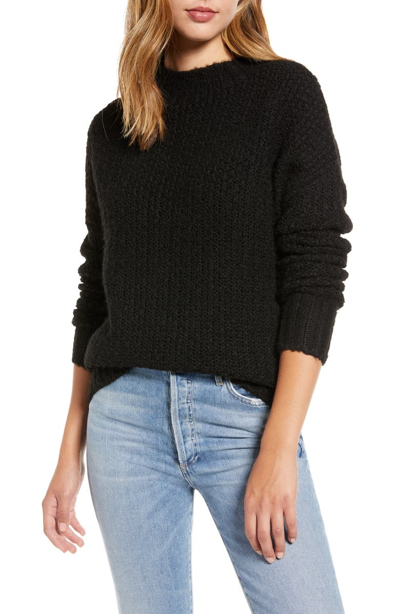 CASLON<SUP>®</SUP> Chunky Knit Sweater, Main, color, BLACK
