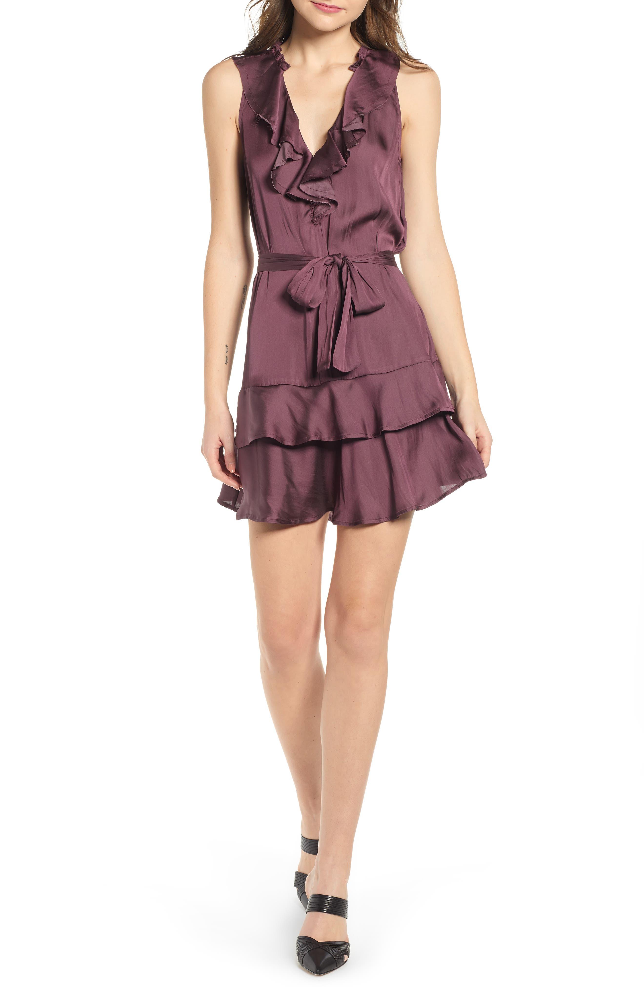 Paige Frieda Ruffle Minidress, Purple