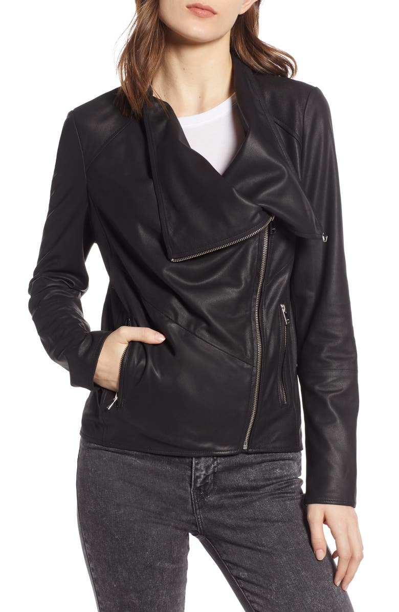 LAMARQUE Waterfall Leather Jacket, Main, color, BLACK