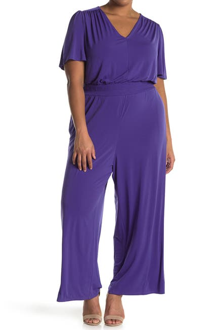 Image of London Times Flutter Sleeve Jersey Jumpsuit