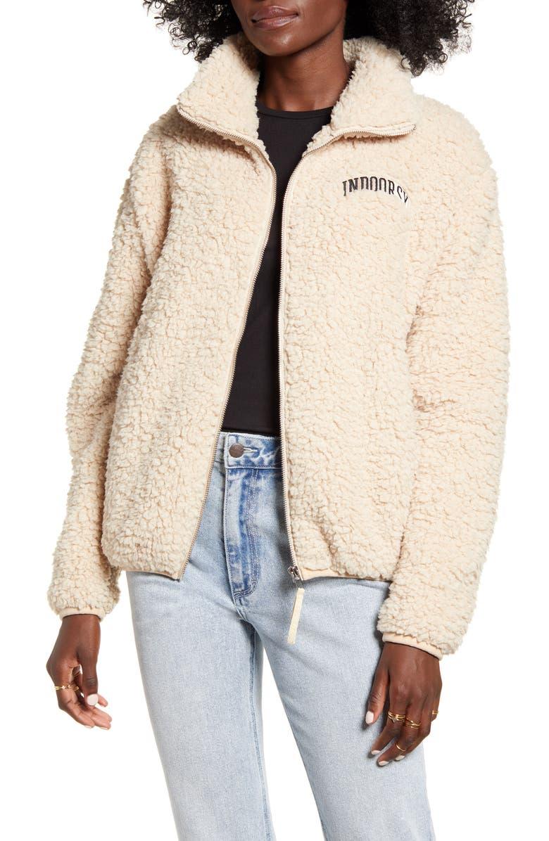 SUB_URBAN RIOT Sub_Urban Indoorsy Teddy Jacket, Main, color, ANTIQUE WHITE