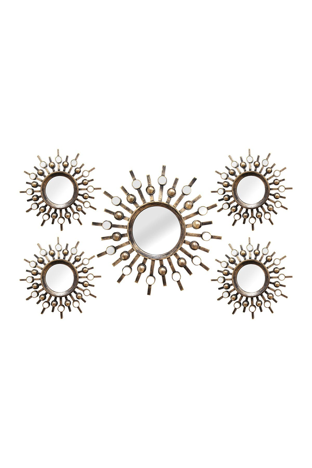 Image of Stratton Home Bronze Burst Wall Mirrors - Set of 5