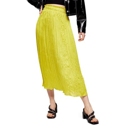 Topshop Pleated Crushed Satin Skirt, US - Yellow