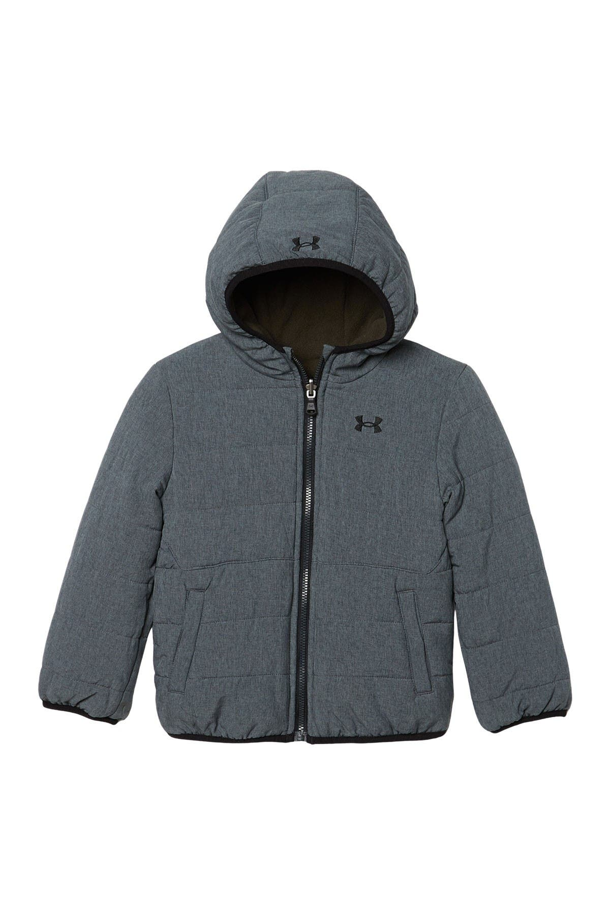 Image of Under Armour Pronto Hooded Reversible Fleece Puffer Jacket