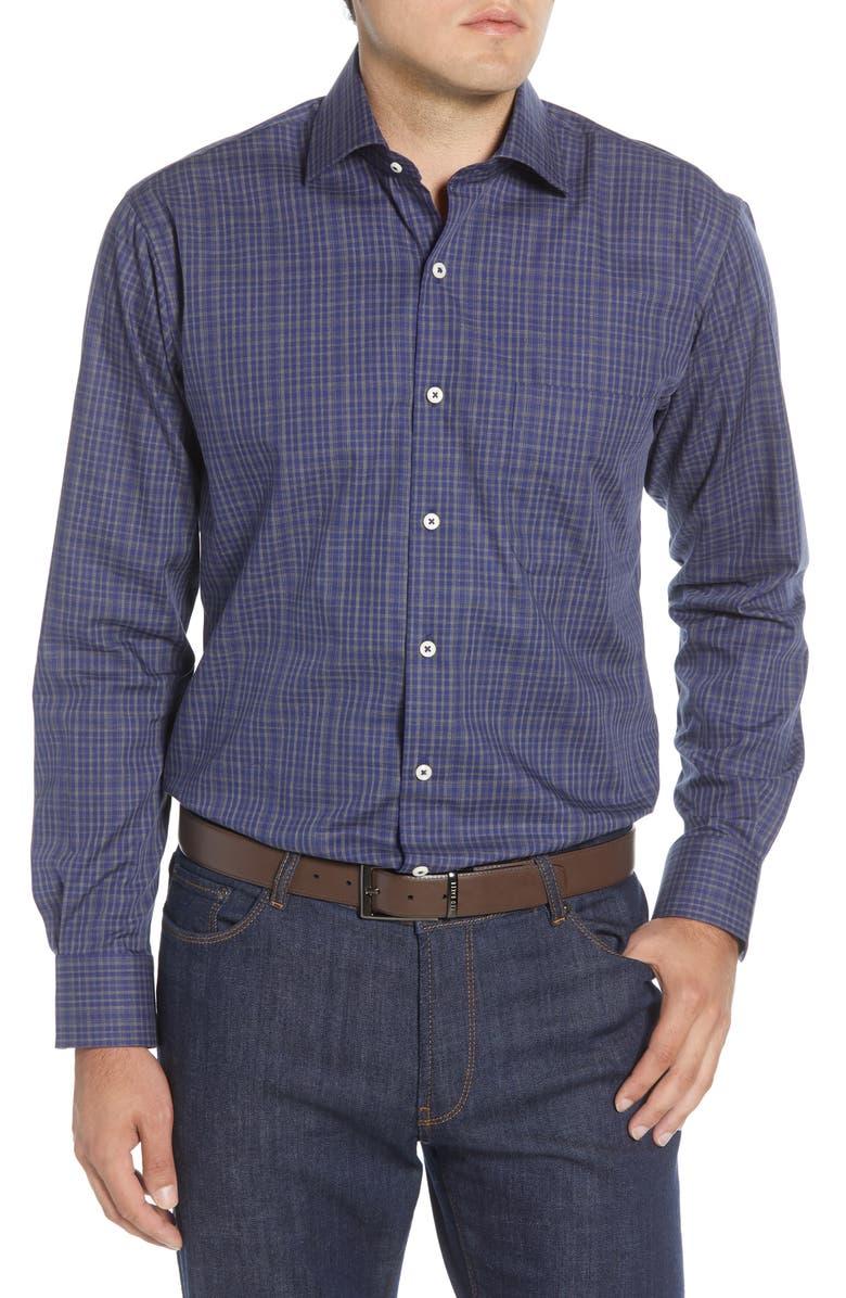 PETER MILLAR Branson Regular Fit Plaid Button-Up Shirt, Main, color, NAVY