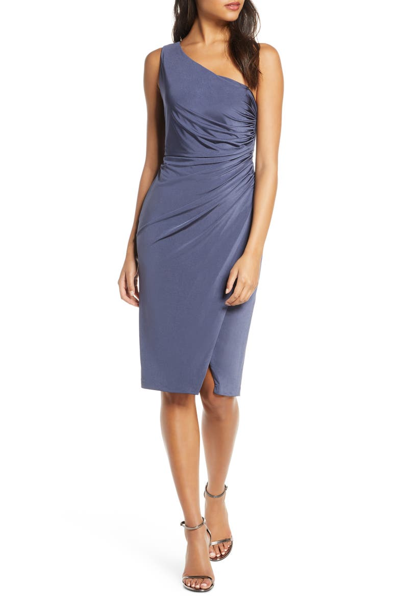 ELIZA J Ruched One-Shoulder Cocktail Dress, Main, color, STEEL