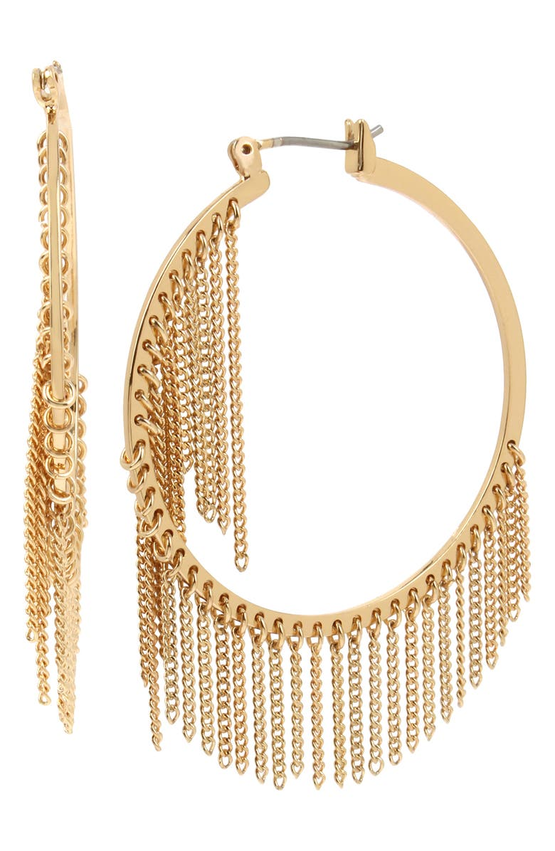 ALLSAINTS Fringe Hoop Earrings, Main, color, GOLD