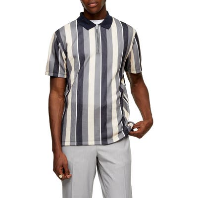 Topman Slim Fit Stripe Zip Polo, Blue