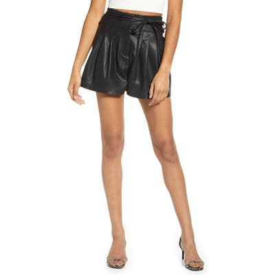 Blanknyc Faux Leather Paperbag Waist Shorts, Black