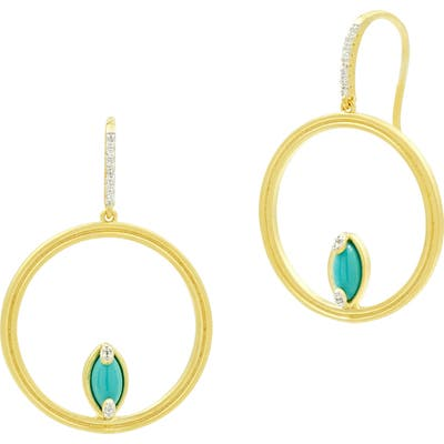 Freida Rothman Fleur Bloom Empire Turquoise Hoop Earrings
