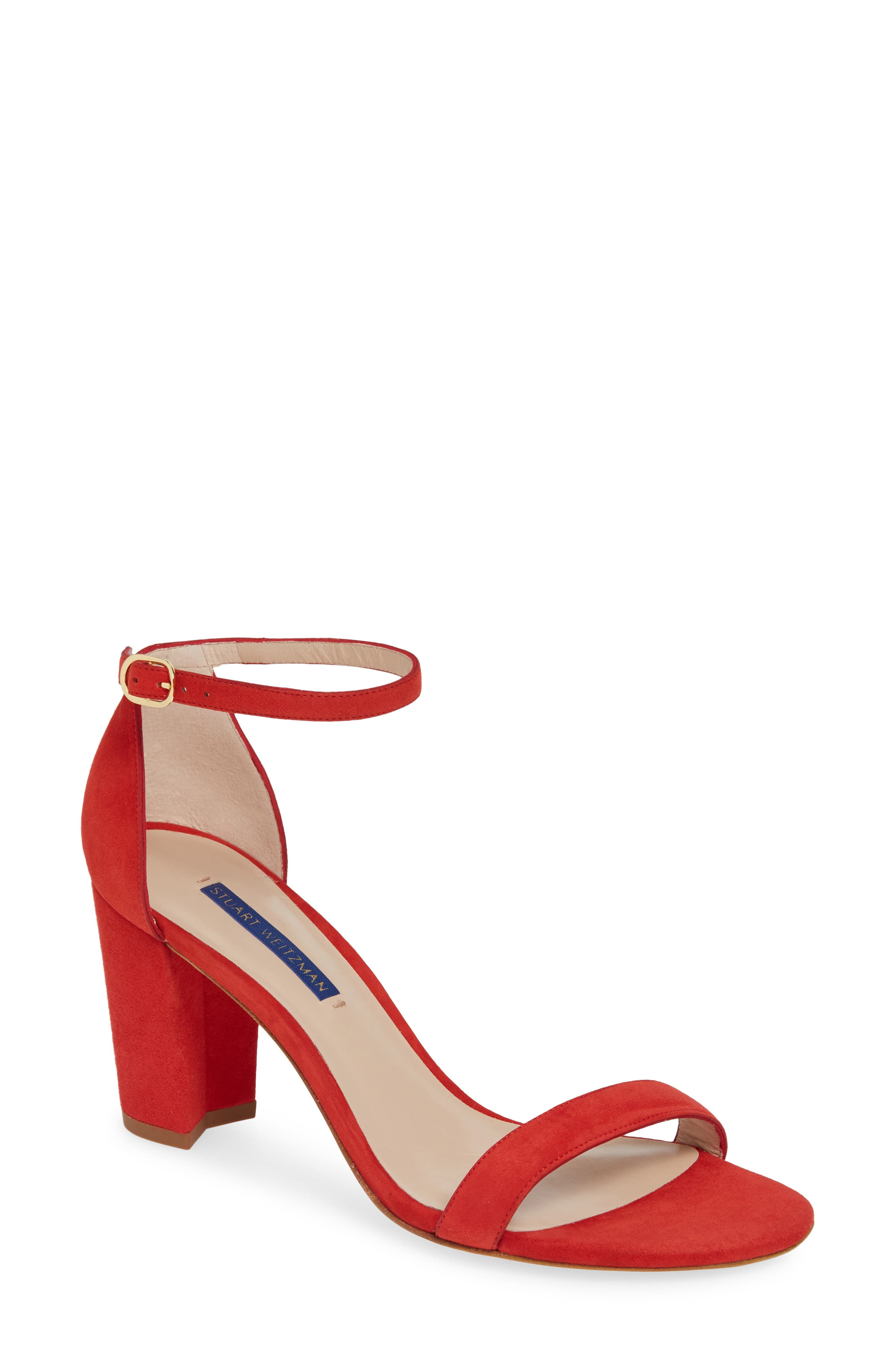 Stuart Weitzman Nearlynude Ankle Strap Sandal- Red