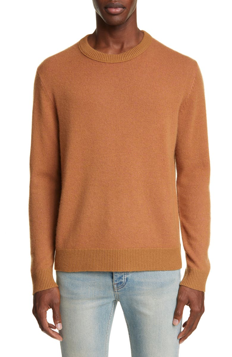 ACNE STUDIOS Kassio Crewneck Cashmere Sweater, Main, color, BROWN/PINK