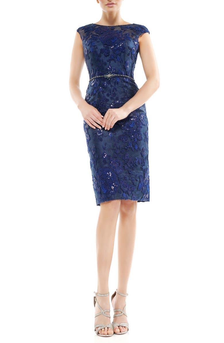 MARSONI Floral Embroidered Crystal Belted Cocktail Dress, Main, color, NAVY
