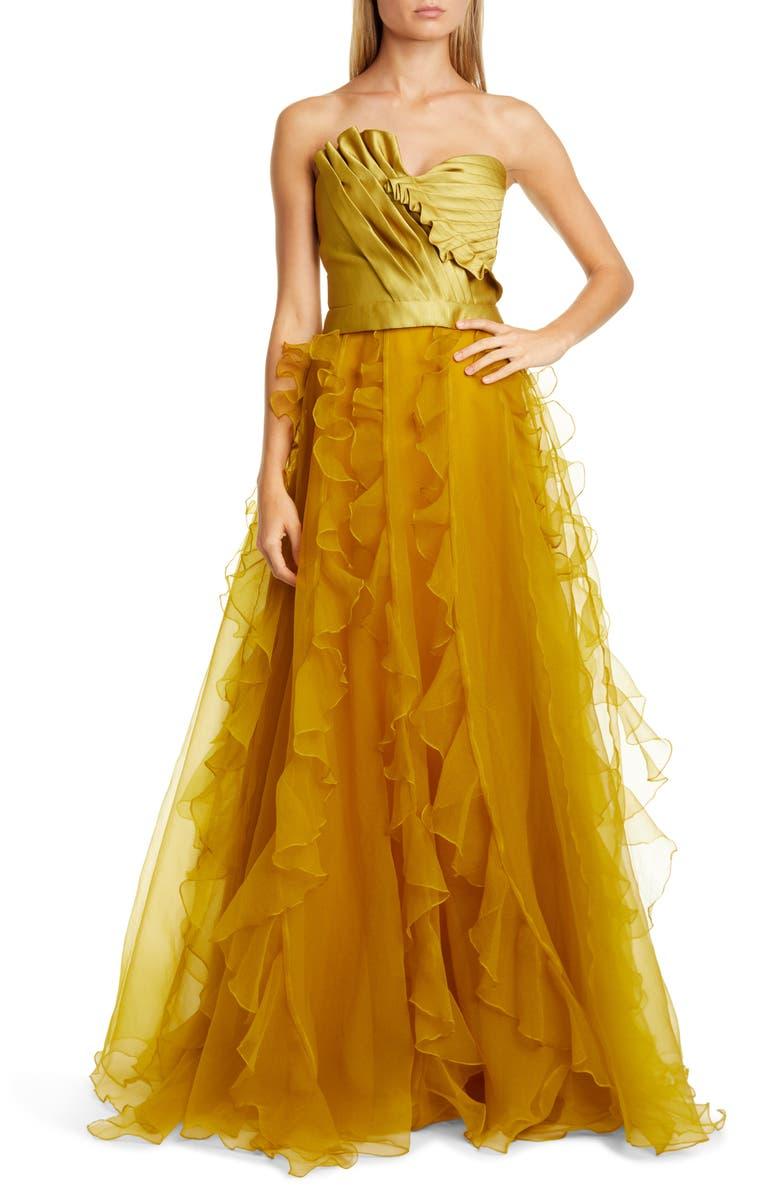 FLOR ET. AL Ella Pleated Duchess Satin Strapless Top, Main, color, CHARTREUSE