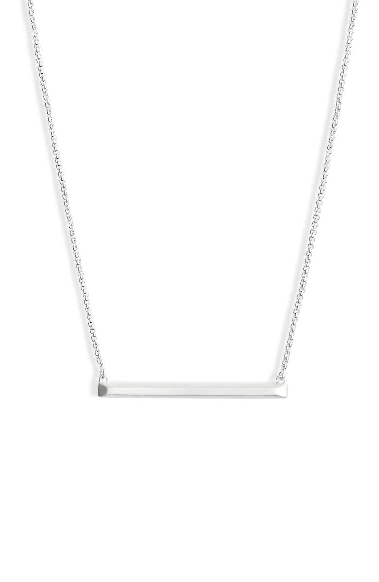 KENDRA SCOTT Kelsey Bar Necklace, Main, color, BRIGHT SILVER METAL
