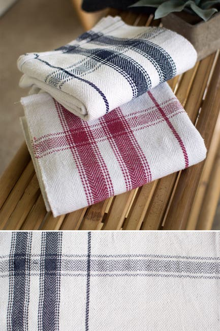 Image of KALALOU Cotton Blanket or Table Cloth-Navy Stripe