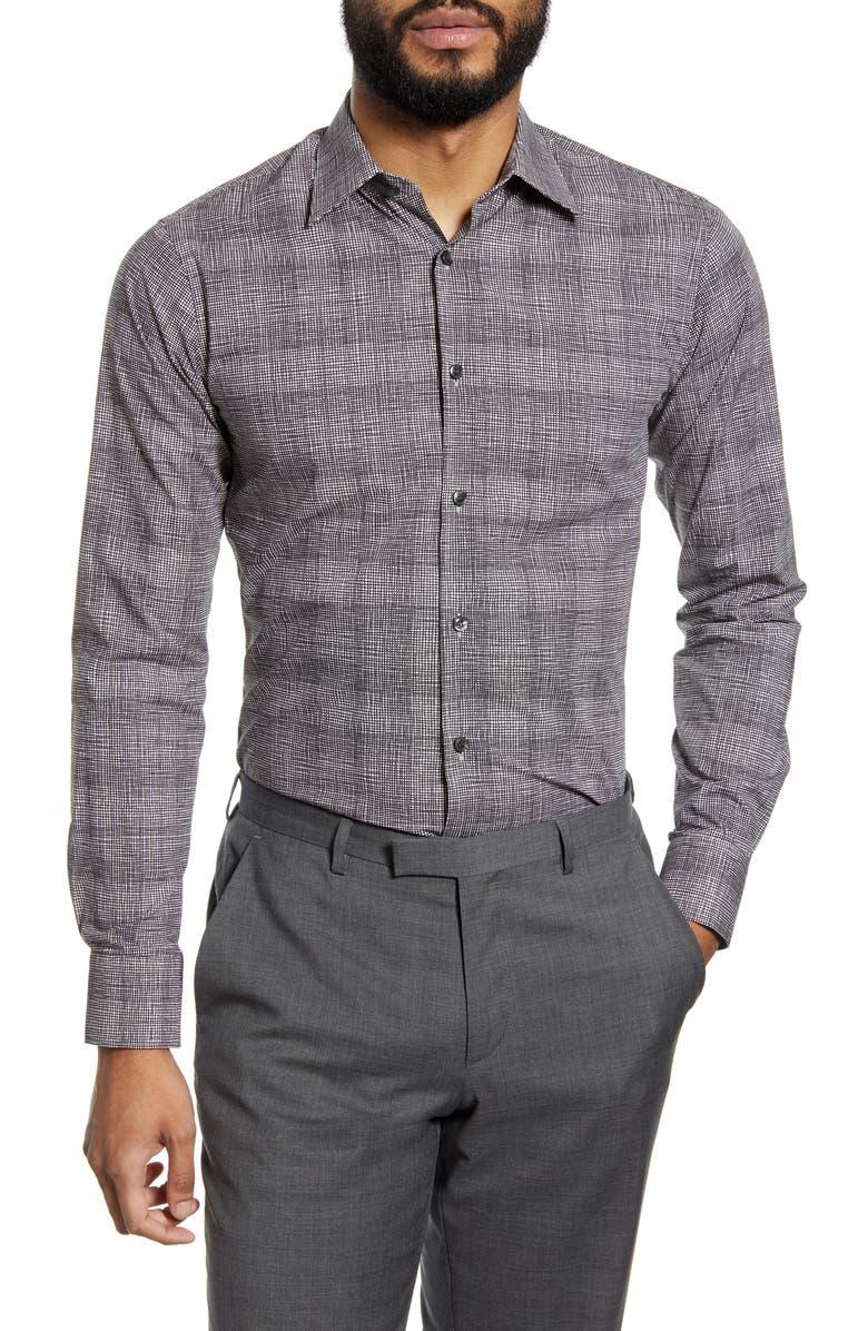 TIGER OF SWEDEN Slim Fit Check Dress Shirt, Main, color, BLACK