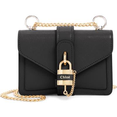 Chloe Aby Mini Leather Shoulder Bag - Black