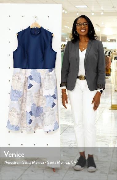 Curve Cyd Satin & Floral Print Cocktail Dress, sales video thumbnail